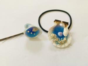 レジン貝殻のヘアピン・ヘアゴム
